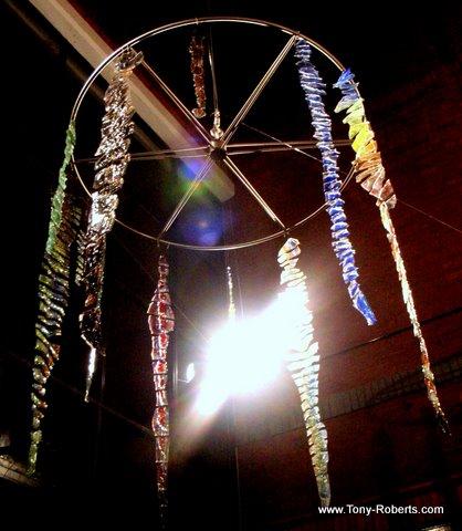 'Wigan Folk' - 2m x 2m - Wigan Galleries -  laminated cast glass on titanium - 2006